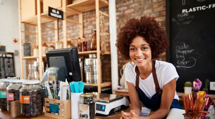 new businesswoman owner at cafe