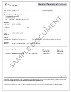 Sample Master Business Licence