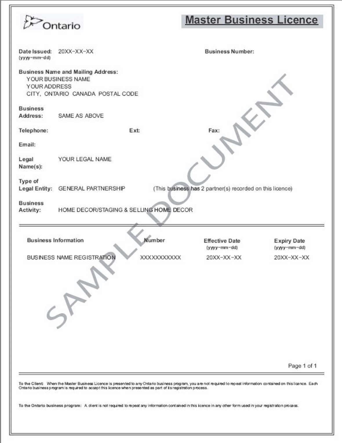 sample business license