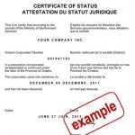 certificate of status sample