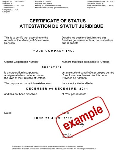Obtaining A Certificate Of Status/Good Standing/Compliance Within