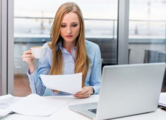 female manager working at office
