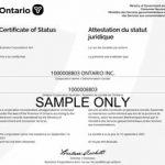 certificate of status sample